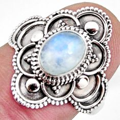 2.09cts solitaire natural rainbow moonstone 925 silver ring size 8 p96840