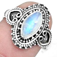 3.05cts natural rainbow moonstone 925 silver solitaire ring jewelry size 8 p9815