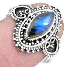 3.11cts natural blue labradorite 925 silver solitaire ring jewelry size 8 p9819