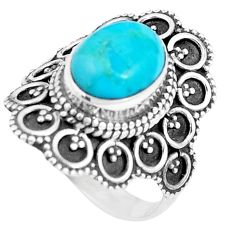 4.38cts natural green kingman turquoise 925 silver solitaire ring size 7 p9821