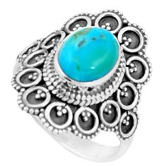 4.20cts natural green kingman turquoise 925 silver solitaire ring size 9 p9827