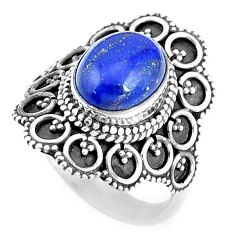 4.38cts natural blue lapis lazuli 925 silver solitaire ring jewelry size 7 p9828