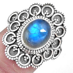 4.71cts natural blue labradorite 925 sterling silver solitaire ring size 9 p9837