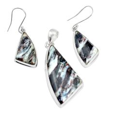 47.20cts natural bronze astrophyllite 925 silver pendant earrings set p16362