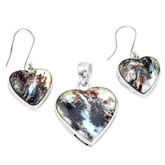 42.36cts natural bronze astrophyllite 925 silver pendant earrings set p16363