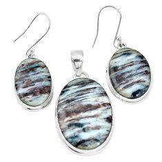 925 silver 47.17cts natural bronze astrophyllite pendant earrings set p16364