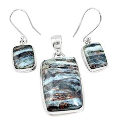 37.50cts natural bronze astrophyllite 925 silver pendant earrings set p16367