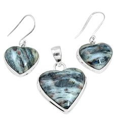 925 silver 34.48cts natural bronze astrophyllite pendant earrings set p16368