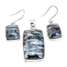 42.85cts natural bronze astrophyllite 925 silver pendant earrings set p16369