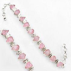 46.73cts natural pink morganite rough 925 sterling silver tennis bracelet r1342