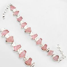 47.62cts natural pink morganite rough 925 sterling silver tennis bracelet r1343