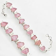 48.62cts natural pink morganite rough 925 sterling silver tennis bracelet r1346