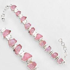 49.51cts natural pink morganite rough 925 sterling silver tennis bracelet r1347