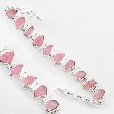 48.07cts natural pink morganite rough 925 sterling silver tennis bracelet r1349