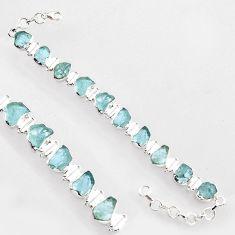 925 sterling silver 39.67cts natural aqua aquamarine rough tennis bracelet r1352