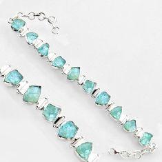 45.26cts natural aqua aquamarine rough 925 sterling silver tennis bracelet r1353