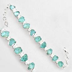 925 sterling silver 47.23cts natural aqua aquamarine rough tennis bracelet r1356