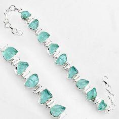 46.15cts natural aqua aquamarine rough 925 sterling silver tennis bracelet r1359