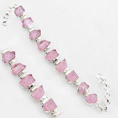 74.14cts natural pink kunzite rough 925 sterling silver tennis bracelet r1361