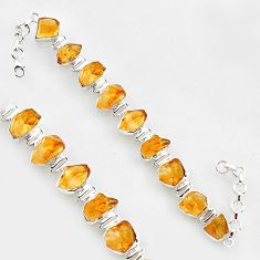 60.10cts natural yellow citrine rough 925 sterling silver tennis bracelet r1371