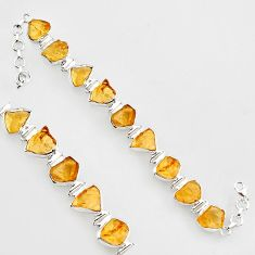 49.94cts natural yellow citrine rough 925 sterling silver tennis bracelet r1373