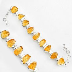 62.80cts natural yellow citrine rough 925 sterling silver tennis bracelet r1374