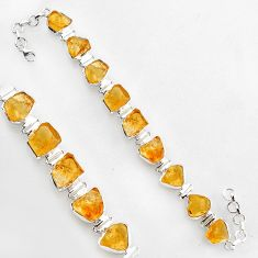 61.41cts natural yellow citrine rough 925 silver tennis bracelet jewelry r1376