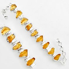 925 silver 49.49cts natural yellow citrine rough tennis bracelet jewelry r1377
