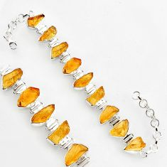 51.55cts natural yellow citrine rough 925 sterling silver tennis bracelet r1379