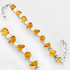 46.07cts natural yellow citrine rough 925 sterling silver tennis bracelet r1380