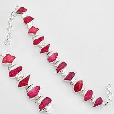 925 sterling silver 58.22cts natural pink ruby rough tennis bracelet r1384