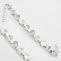 925 silver 55.08cts natural white herkimer diamond fancy tennis bracelet r1394