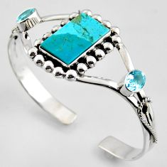 16.38cts blue arizona mohave turquoise topaz 925 silver adjustable bangle r3703