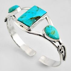 925 silver 21.23cts blue arizona mohave turquoise adjustable bangle r3704
