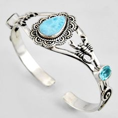 13.48cts natural blue larimar topaz 925 sterling silver adjustable bangle r3706