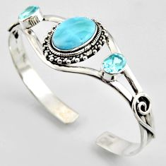 16.42cts natural blue larimar topaz 925 sterling silver adjustable bangle r3709