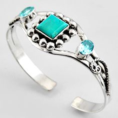 925 silver 12.78cts green arizona mohave turquoise topaz adjustable bangle r3710