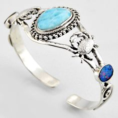 15.04cts natural blue larimar fancy 925 silver crab adjustable bangle r3711