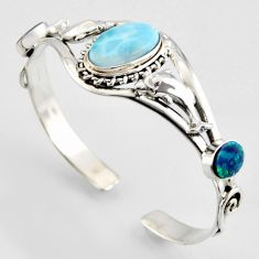 17.51cts natural blue larimar 925 silver dolphin adjustable bangle jewelry r3712