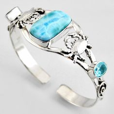 20.86cts natural blue larimar topaz 925 silver crab adjustable bangle r3714