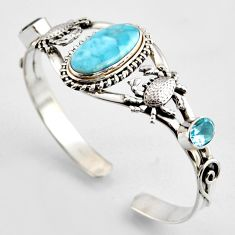18.78cts natural blue larimar topaz 925 silver crab adjustable bangle r3715