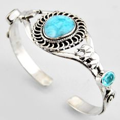925 silver 17.88cts natural blue larimar topaz elephant adjustable bangle r3717