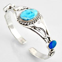 925 silver 15.32cts natural blue larimar dolphin adjustable bangle jewelry r3719