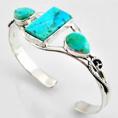 19.39cts green arizona mohave turquoise topaz 925 silver adjustable bangle r3720