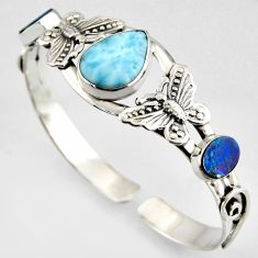17.65cts natural blue larimar 925 silver butterfly adjustable bangle r3721
