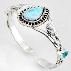 17.35cts natural blue larimar topaz 925 silver fish adjustable bangle r3722