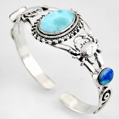 17.30cts natural blue larimar 925 silver crab adjustable bangle r3724