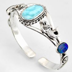 925 silver 15.18cts natural blue larimar fairy mermaid adjustable bangle r3725