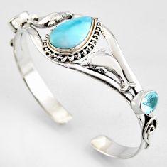 17.01cts natural blue larimar topaz 925 silver dolphin adjustable bangle r3726