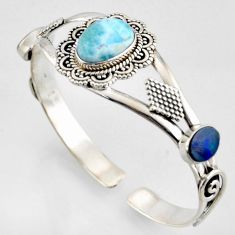 13.64cts natural blue larimar 925 silver adjustable bangle jewelry r3728